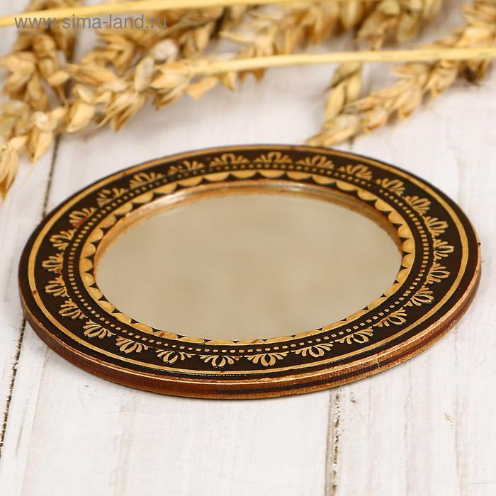 Зеркало «Цветы», хохлома, береста