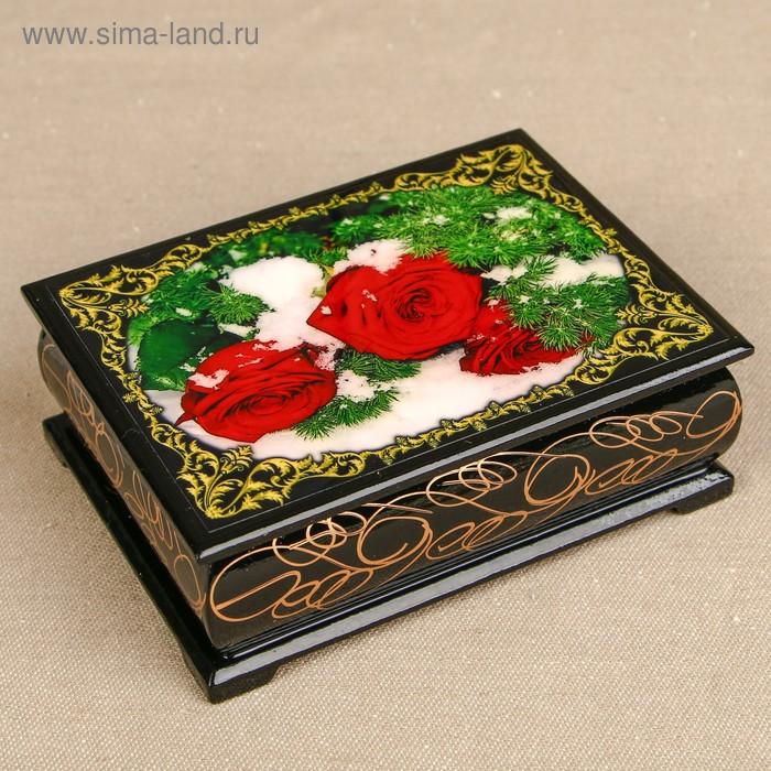 Шкатулка «Цветы 44», лаковая миниатюра, 8х10,5 см