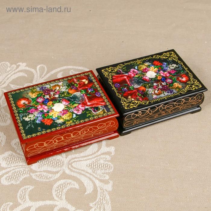 Шкатулка «Цветы 46», лаковая миниатюра, 8х10,5 см