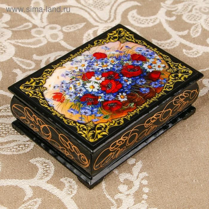 Шкатулка «Цветы 57», лаковая миниатюра, 8х10,5 см