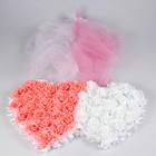 Набор сердец на решетку рад-ра с цветами+двойная фата по капоту+бант на зеркало розовый