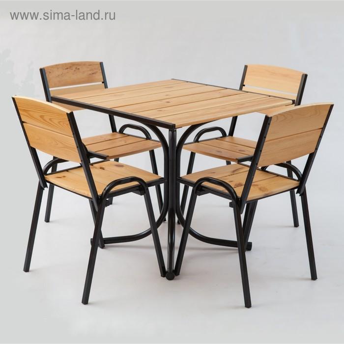 Комплект мебели «Петергоф» (1 стол + 4 стула) 80 см, светлый