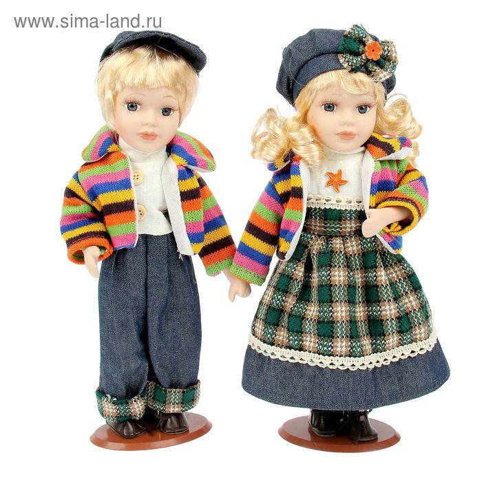 """Кукла коллекционная """"Ребята в костюмчиках с зелёной клеткой"""" в наборе 2 шт"""