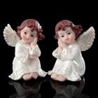 """Сувенир полистоун """"Ангел в белоснежном платье с жемчужными крыльями сидит""""МИКС 8х5,5х5,5см"""