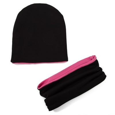 """Комплект детский шапка+снуд """"Колпак"""", размер 40-45 см, цвет джинс/розовый КД-2-4-1/0"""