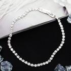 """Браслет со стразами """"Лёд"""" элегантность, 1 ряд, цвет белый в серебре"""