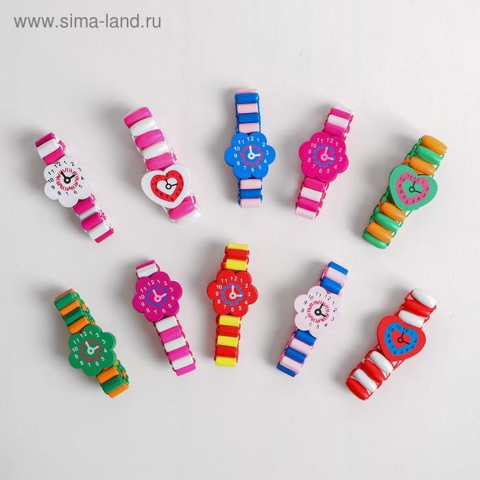 Часы детские, на резиночке с фигурным циферблатом, цвета МИКС
