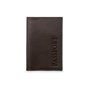Обложка для паспорта без застежки, натуральная кожа, коричневый (FT-PS01-K02) Ош