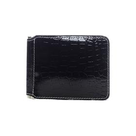 Зажим для купюр без застежки, 1 ряд, 6 карманов, натуральная кожа, чёрный (FT-ZM07-KR01) Ош