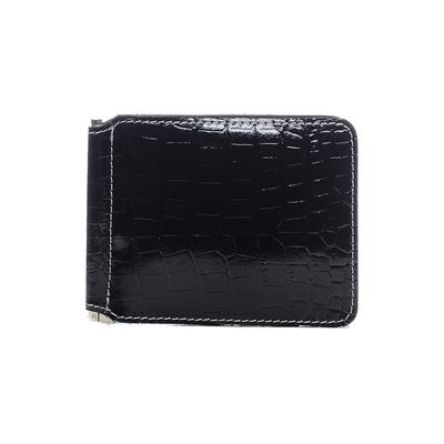Зажим для купюр без застежки, 1 ряд, 6 карманов, натуральная кожа, чёрный (FT-ZM07-KR01)