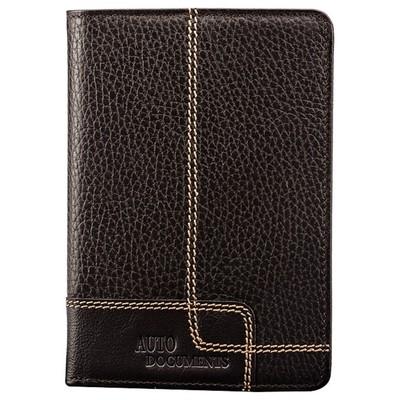 Бумажник для автодокументов, отдел для кредитных карт, 10 карманов,, цвет коричневый