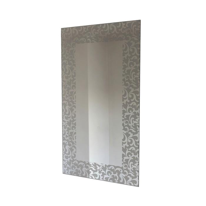 Зеркало прямоугольное 50х90 см, 4 мм еврокромка, пескоструйный рисунок, арт_14-1