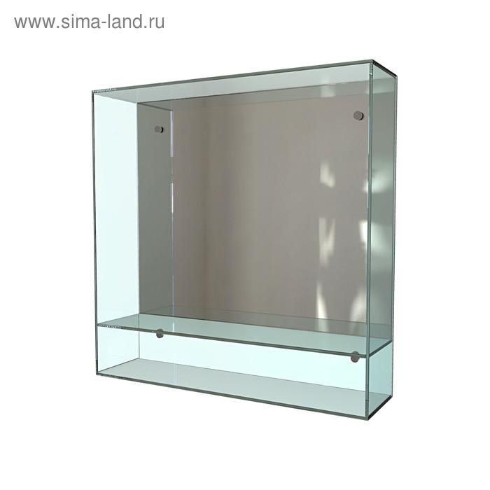 Стеклянная полка с зеркалом 60х60 см, 4 мм, 6 мм, крепление к стене 4шт в комплекте, арт_49   338789