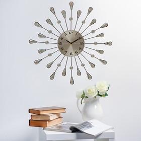 Часы настенные, серия Ажур, зеркальные лепестки в форме капли, серебристые, d=40 см