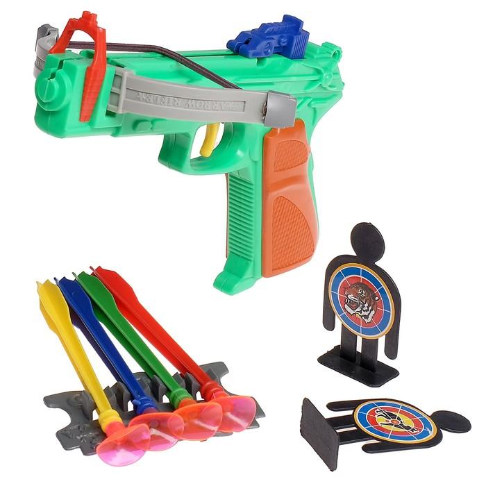 Пистолет с присосками, цвета МИКС