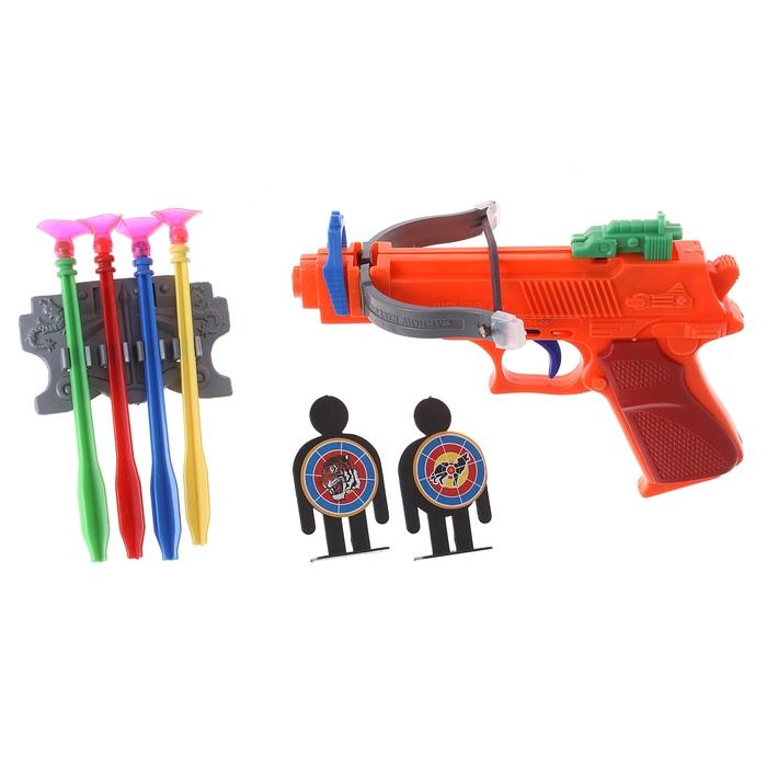 Пистолет- арбалет с присосками, цвета МИКС