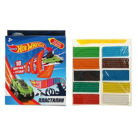 Пластилин 10 цветов, 200 г, Hot Wheels, стек Ош