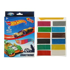 Пластилин 12 цветов, 240 г, Hot Wheels, стек Ош