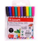 Набор капиллярных ручек 10 цветов Luxor Mini Fine Writer 045, узел 0.8мм, европодвес