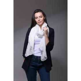 """Палантин Этель """"Воздушный"""", размер 70 х 180 см, цвет белый/серебро"""