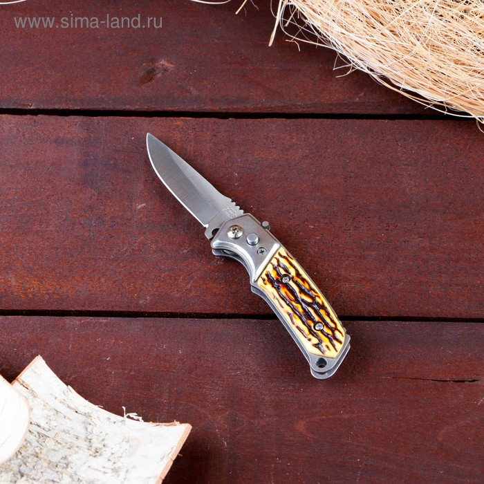 Нож складной автоматический с фиксатором, рукоять тигр
