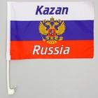 Флаг 30х45 см, Казань, со штоком для машины, триколор, герб России, полиэстер