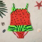 """Купальник для девочки """"Арбузик"""", рост 92-98 см (2-3 года), цвет красный/зелёный"""
