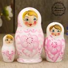 Матрёшка «Нежность»,  светло-розовое платье, 3 кукольная, 9 см