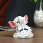 "Сувенир керамика копилка ""Слонёнок с монетками"" 7х6,5х7 см"