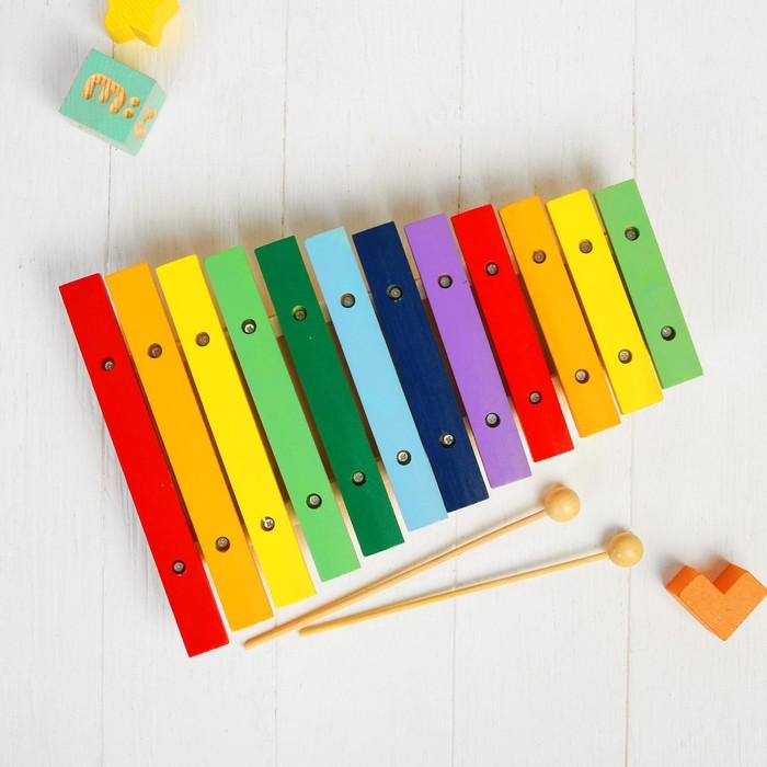 Игрушка музыкальная - ксилофон, 12 тонов + 2 палочки