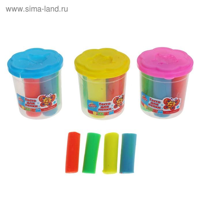 Тесто для лепки 4 цвета, 140 грамм, цвета МИКС