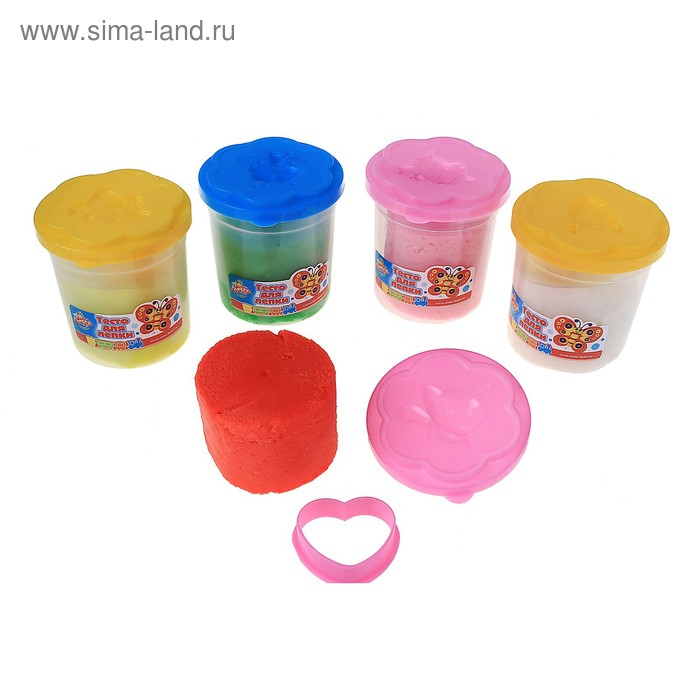 Тесто для лепки в ведерке 1 цвет, 140 г + формочка + крышка-формочка, цвета МИКС
