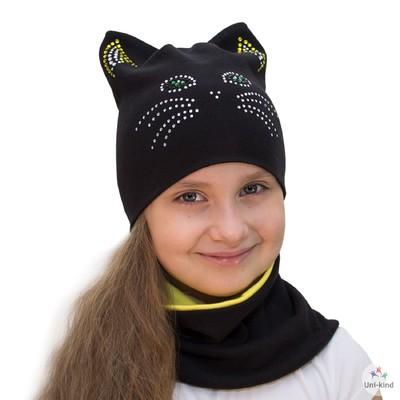 "Комплект шапка + снуд ""Кошка"", размер 40-45 см, цвет чёрный КД-25/02"