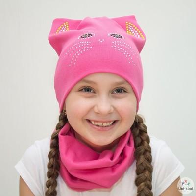 """Комплект шапка + снуд """"Кошка"""", размер 40-45 см, цвет розовый КД-45/02"""
