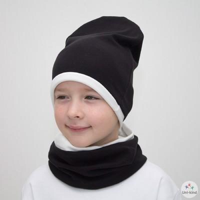 """Комплект шапка + снуд """"Колпак"""" двухсторонняя, размер 40-45 см, цвет белый/чёрный КД-1-2-1"""
