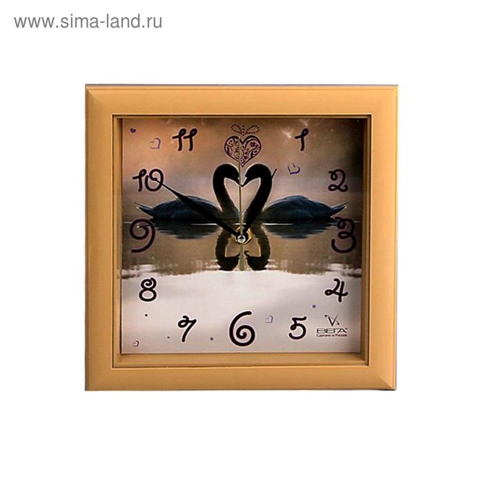 """Часы настенные квадратные """"Лебеди"""""""