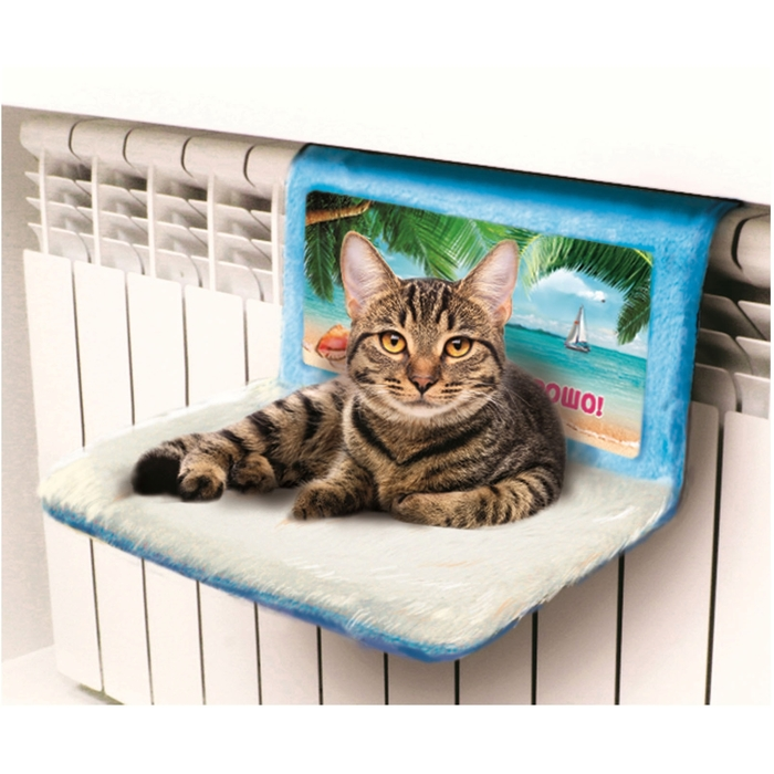 """Гамак на батарею для кошек на металлокаркасе """"Отдыхаю хорошо"""""""