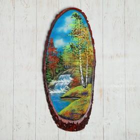Картина из каменной крошки, в форме среза дерева