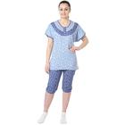 Пижама женская (футболка, бриджи) Цветочек синий, р-р 54