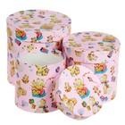 """Набор круглых подарочных коробок 3в1 """"Мишки на розовом"""", 20 х 20 х 20 - 15 х 15 х 15 см"""
