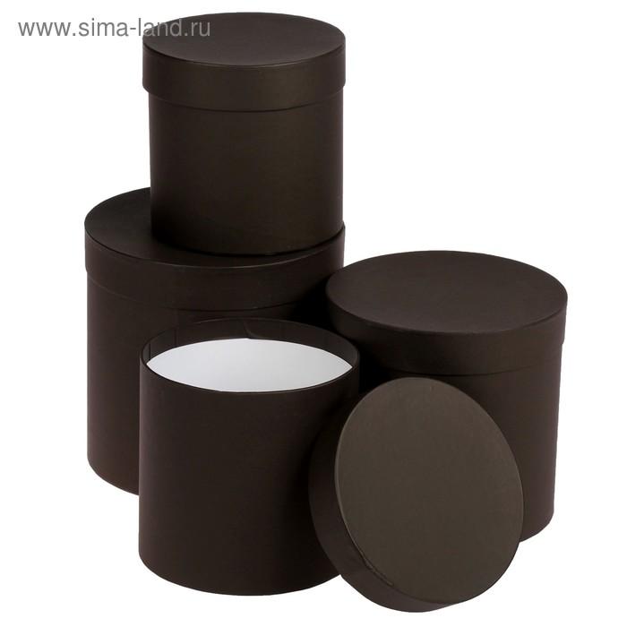 """Набор коробок 4в1 """"Кофе"""", однотонные, 20 х 20 х 20 - 15 х 15 х 15 см"""