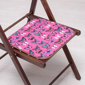 Сидушка на стул Бабочки на розовом 35х35см, канвас/спанбонд 240г/м, х/б 60%, п/э 40% Ош
