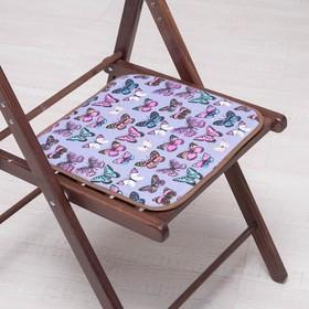 Сидушка на стул Бабочки на сером, 35х35см канвас/спанбонд 240г/м, х/б 60%, п/э 40% Ош