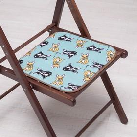 Сидушка на стул Бульдоги на зеленом 35х35см, канвас/спанбонд 240г/м, х/б 60%, п/э 40% Ош