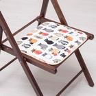 Сидушка на стул Коты -Скелеты 35х35см, канвас/спанбонд 240г/м, х/б 60%, п/э 40%
