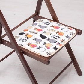 Сидушка на стул Коты -Скелеты 35х35см, канвас/спанбонд 240г/м, х/б 60%, п/э 40% Ош