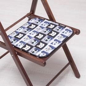 Сидушка на стул Коты в очках 35х35см, канвас/спанбонд 240г/м, х/б 60%, п/э 40% Ош