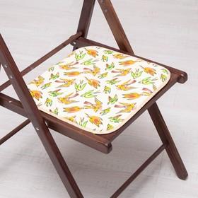 Сидушка на стул Ласточки на желтом 35х35см, канвас/спанбонд 240г/м, х/б 60%, п/э 40% Ош