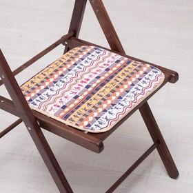 Сидушка на стул Первобытные люди беж 35х35см, канвас/спанбонд 240г/м, х/б 60%, п/э 40% Ош
