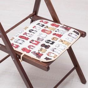 Сидушка на стул Собаки 35х35см, канвас/спанбонд 240г/м, х/б 60%, п/э 40% Ош